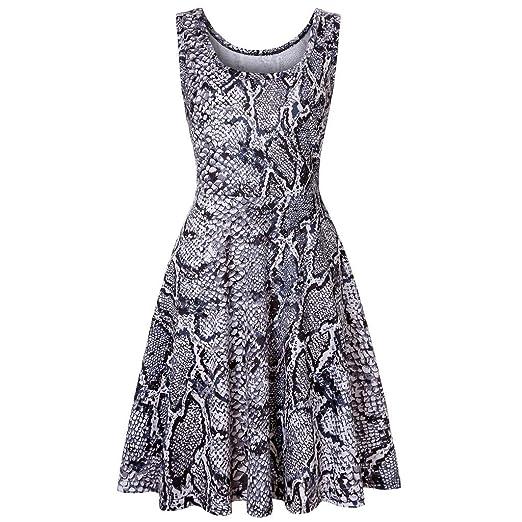ebd5bc53ad Uscharm Strap Leopard Print Dress Womens Sleeveless Summer Beach A Line  HIgh Waist Casual Party Dress