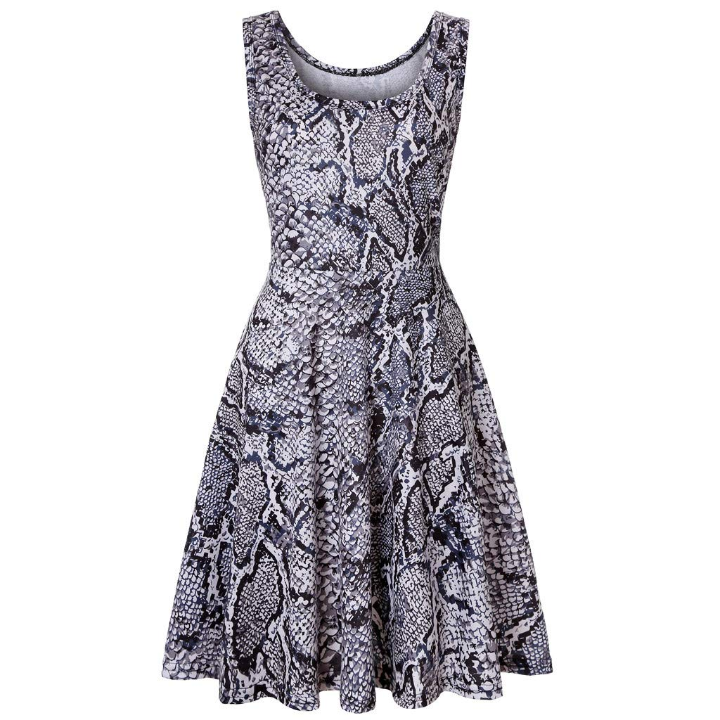 KYLEON Women's Midi Dresses Boho Leopard Print Sleeveless O-Neck A Line Waistline Casual Summer Party Flared Tank Dress Gray by KYLEON (Image #7)