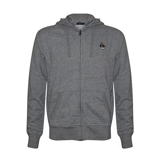 f646bafd2 Polo Ralph Lauren Mens Limited Full Zip Bear Hoodie (Grey Basketball