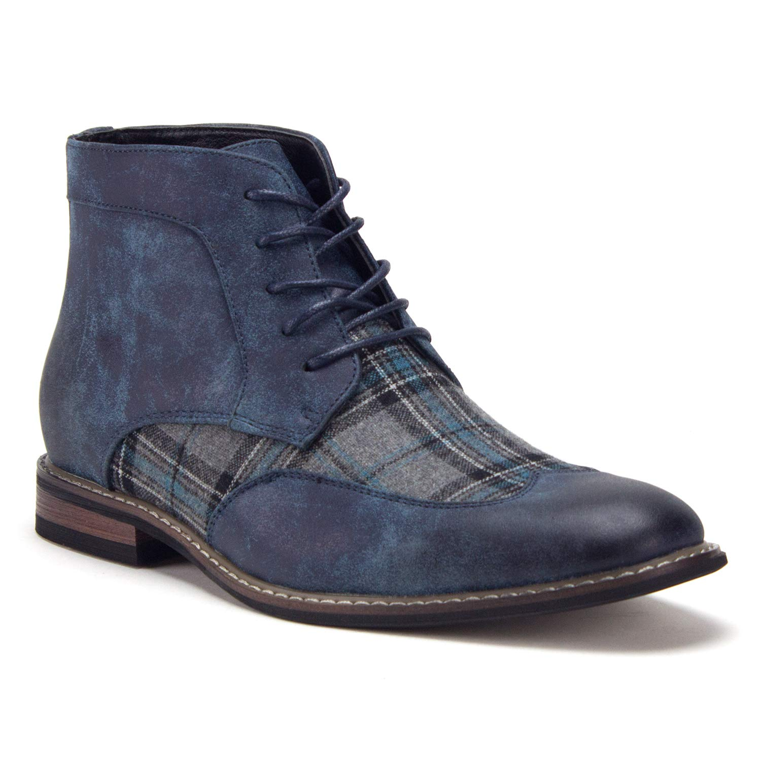 Jazame Men's Plaid Design Wing Tip Ankle High Lace Up Dress Boots, Navy, 9