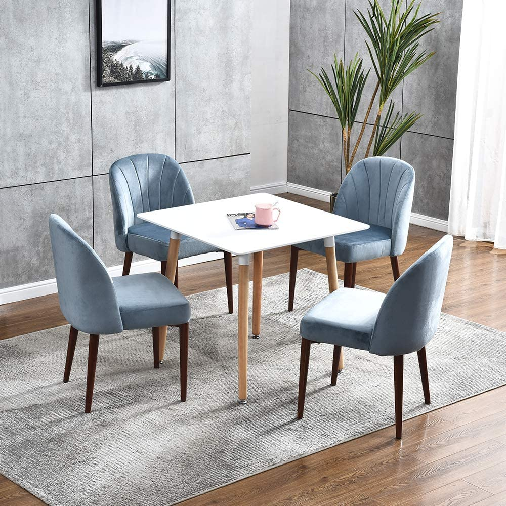 5 Piece Dinette Set For Small Spaces Dining Room Set Table Chairs Set White Wood Dining Table And 4 Blue Velvet Dining Chairs With Steel Legs 60cm Square Dining Table Set Of 4