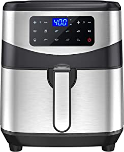 7.4 QT XL Air Fryer, MOOSOO 10-in-1 Electric Air Fryer Oven with Digital LED Screen, 1700W Stainless Steel Air Fryers, Nonstick Basket, Temp/Time Control, Auto Shutoff & Overheat Protection