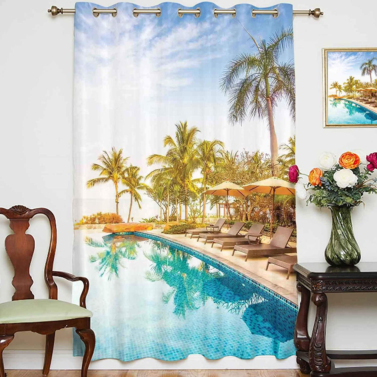 Blackout Shading Curtains Aerial View of A Pool in A Health Resort Spa Hotel with Exotic Elements Sports Modern Photo Grommet Top Thermal Insulated Curtain for Home Decor,Single Panel,42