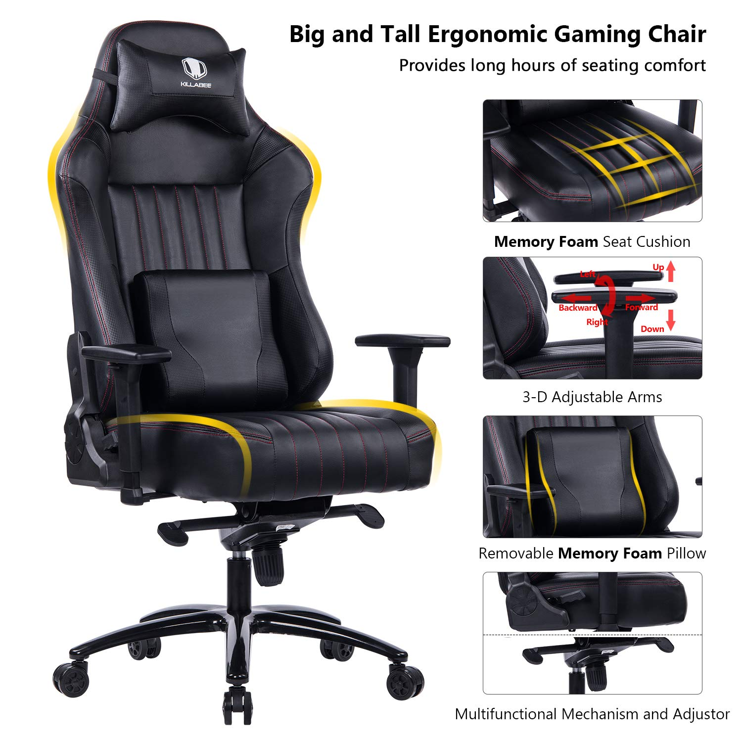 KILLABEE Big and Tall 400lb Memory Foam Gaming Chair Metal Base - Adjustable Tilt, Back Angle and 3D Arms Ergonomic High-Back Leather Racing Executive Computer Desk Office Chair, Dark Black