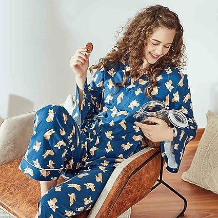 Pijama de señora de dibujos animados Pantalones de manga larga de algodón de primavera y otoño