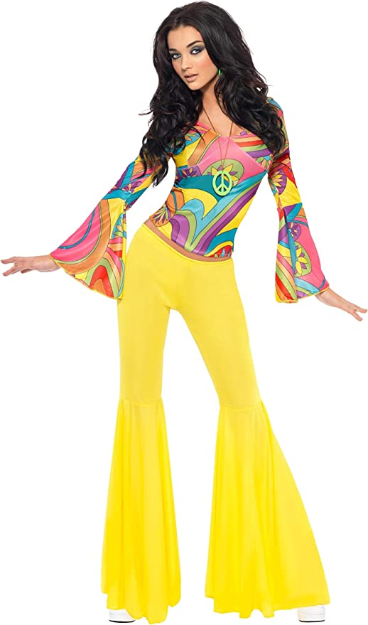 70s Costumes: Disco Costumes, Hippie Outfits Smiffys 70s Groovy Babe Costume - S £23.98 AT vintagedancer.com