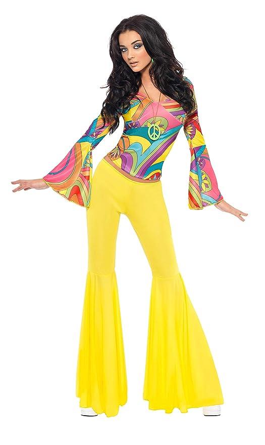 10fd2bc4cc874c SMIFFYS Costume Ragazza alla Moda Anni '70, Multi-Colore con Parte  Superiore e
