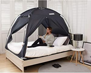 BESTEN Floorless Indoor Privacy Tent on Bed for Warm and Cozy Sleep Inside Drafty Room (Full/Queen, Charcoal(cp))