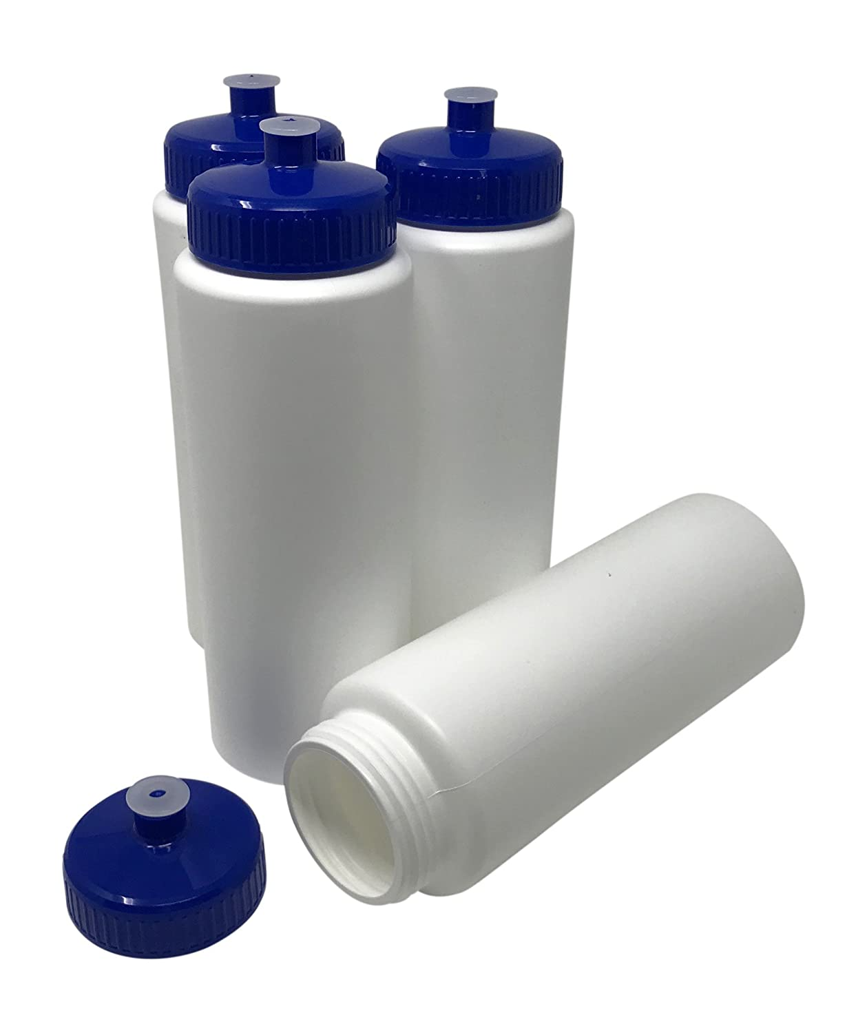 Made in USA 4 Pack HDPE Plastic BPA Free CSBD Blank 32 oz Sports and Fitness Squeeze Water Bottles Bulk