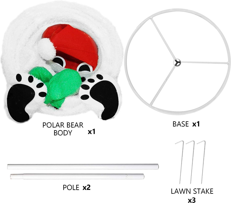 Plug-in Christmas Light Up Polar Bear Indoor Outdoor Yard Holiday Decor 6 Ft 200 LED Christmas Lighted Polar Bear Ornaments with Clear Lights Lulu Home Christmas Collapsible Polar Bear Decoration