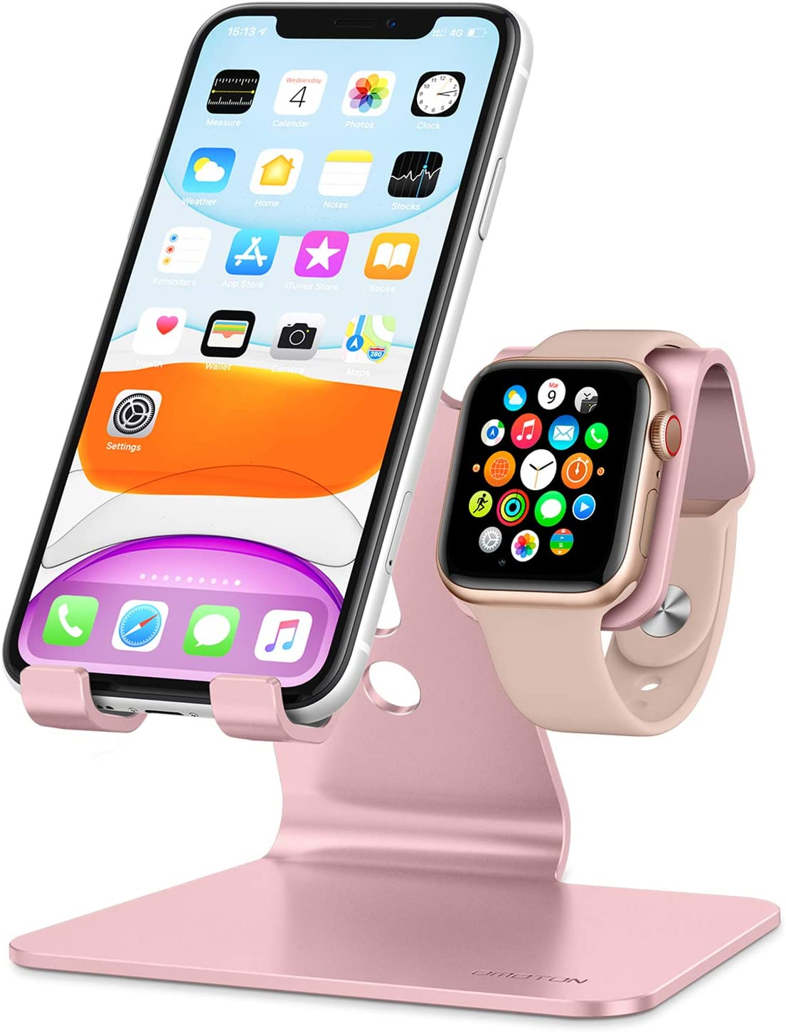 Amazon Com Apple Watch Stand Omoton 2 In 1 Universal Desktop Stand Holder For Iphone And Apple Watch Series 6 5 4 3 2 1 And Apple Watch Se Both 38mm 40mm 42mm 44mm Rose Gold