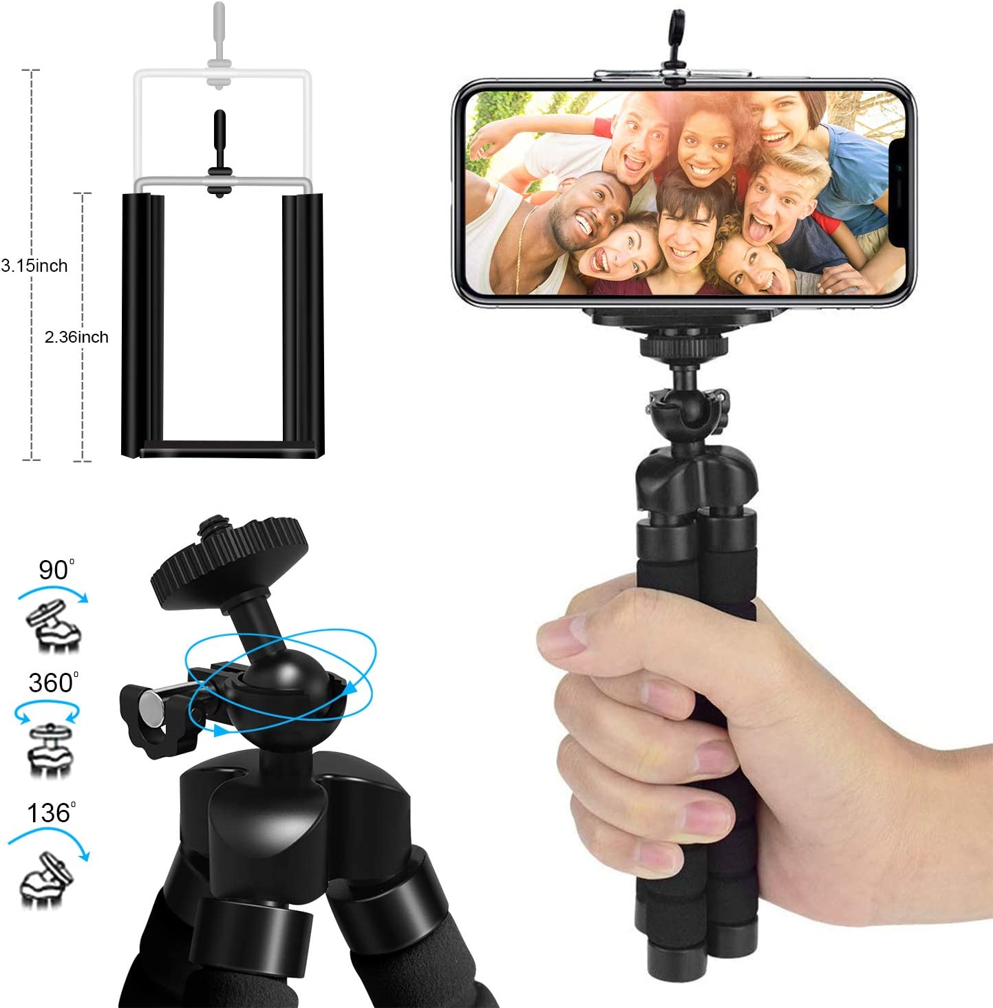 Phone Tripod Camera and GoPro SYOSIN 2020 Extendable Phone Camera Tripod Mount with Bluetooth Control and Universal Clip,360/°Rotating Flexible Tripod Stand Holder,Compatible with Smartphone