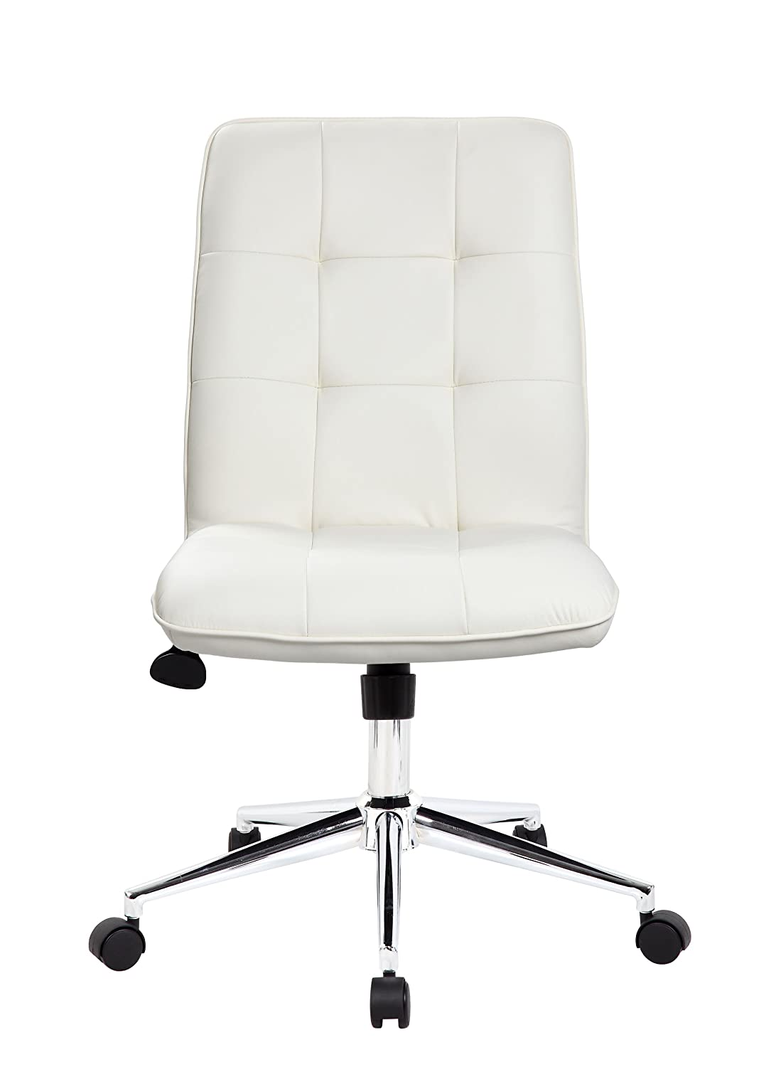 Amazon.com: Boss Office Products B330 WT Mellennial Modern Home Office Chair  Without Arms In White: Kitchen U0026 Dining