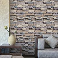 """HaokHome 61007 Faux Stacked Stone Wallpaper Peel Stick Wall Decor 17.7""""x 19.7ft Prepasted Contact Paper Rust Tan"""