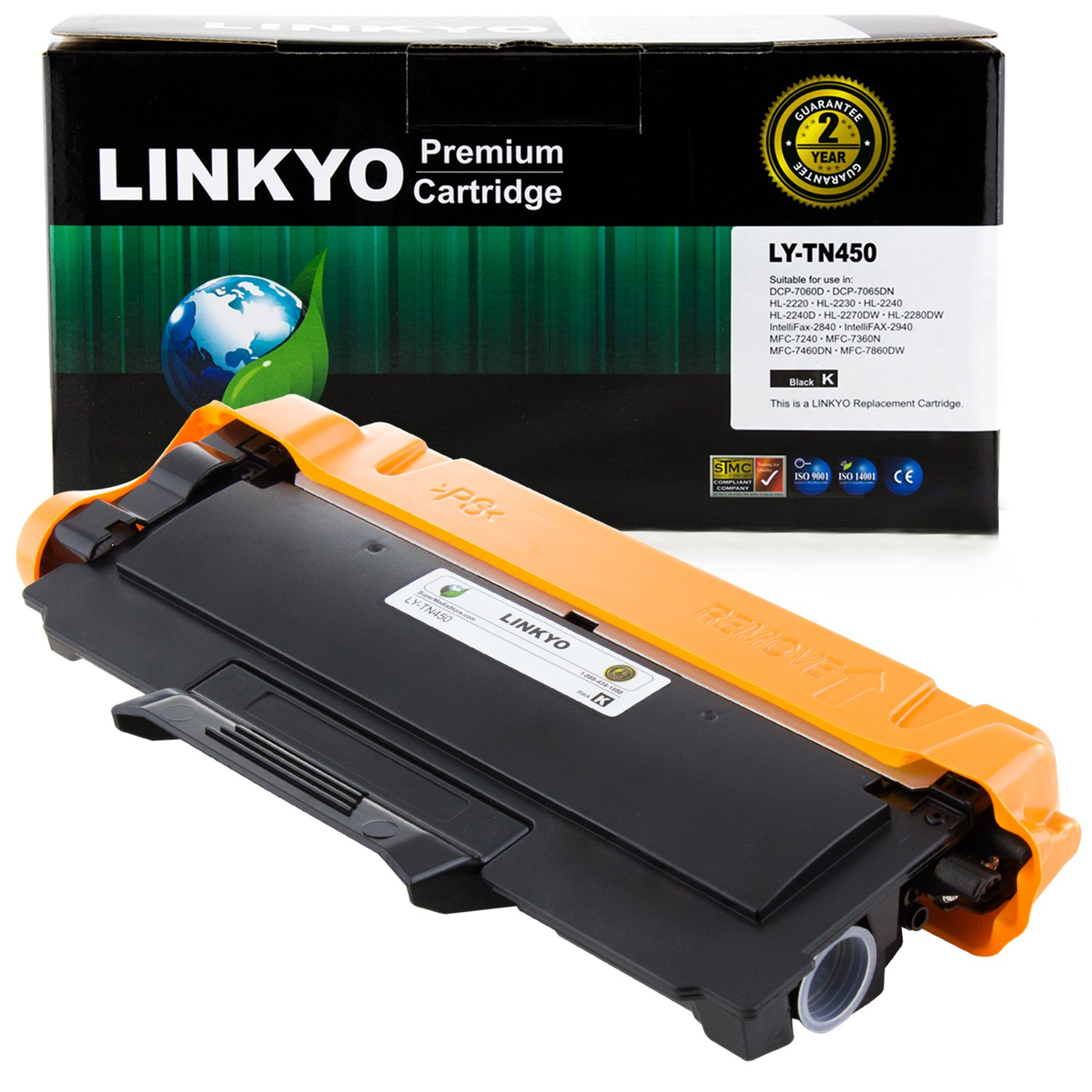 LINKYO Compatible Replacement for Brother TN450 TN420 High Yield Toner Cartridge (Black)