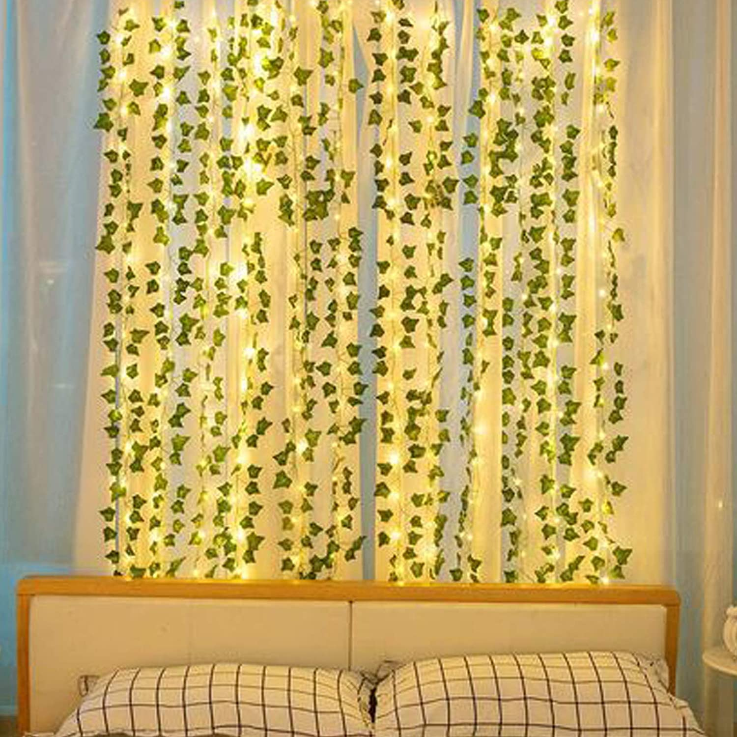 Cocoboo 14 Pack 98ft Fake Vines Ivy With 100 Led String Lights For Home Decor Kitchen Wall Bedroom Garden Wedding Greenery Garland Fake Plants Artificial Ivy Leaves Green Vines Hanging Garland Home