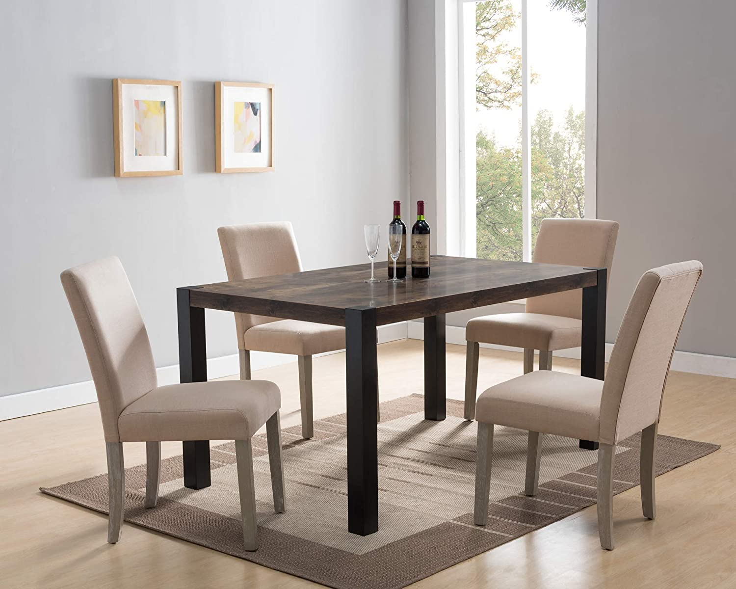 Amazon Com 172221 Mid Century Dining Table Distressed Wood And Black Color Dining Room Table Tables