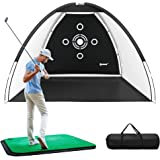 IPOW Golf Practice Net, 10x7ft Golf Hitting Training Aids Nets with Target and Carry Bag for Backyard Driving Chipping - Men