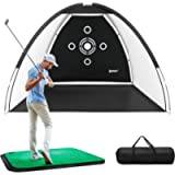 IPOW Golf Practice Net, 10x6.5ft Golf Hitting Training Aids Nets with Target and Carry Bag for Backyard Driving Chipping…