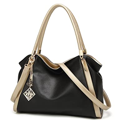 c524d62892eb Amazon.com  DALFR PU Vegan Leather Women Shoulder Bags Hobo Handbags Top  Handle Tote Crossbody Oversized Bags (Black)  Shoes