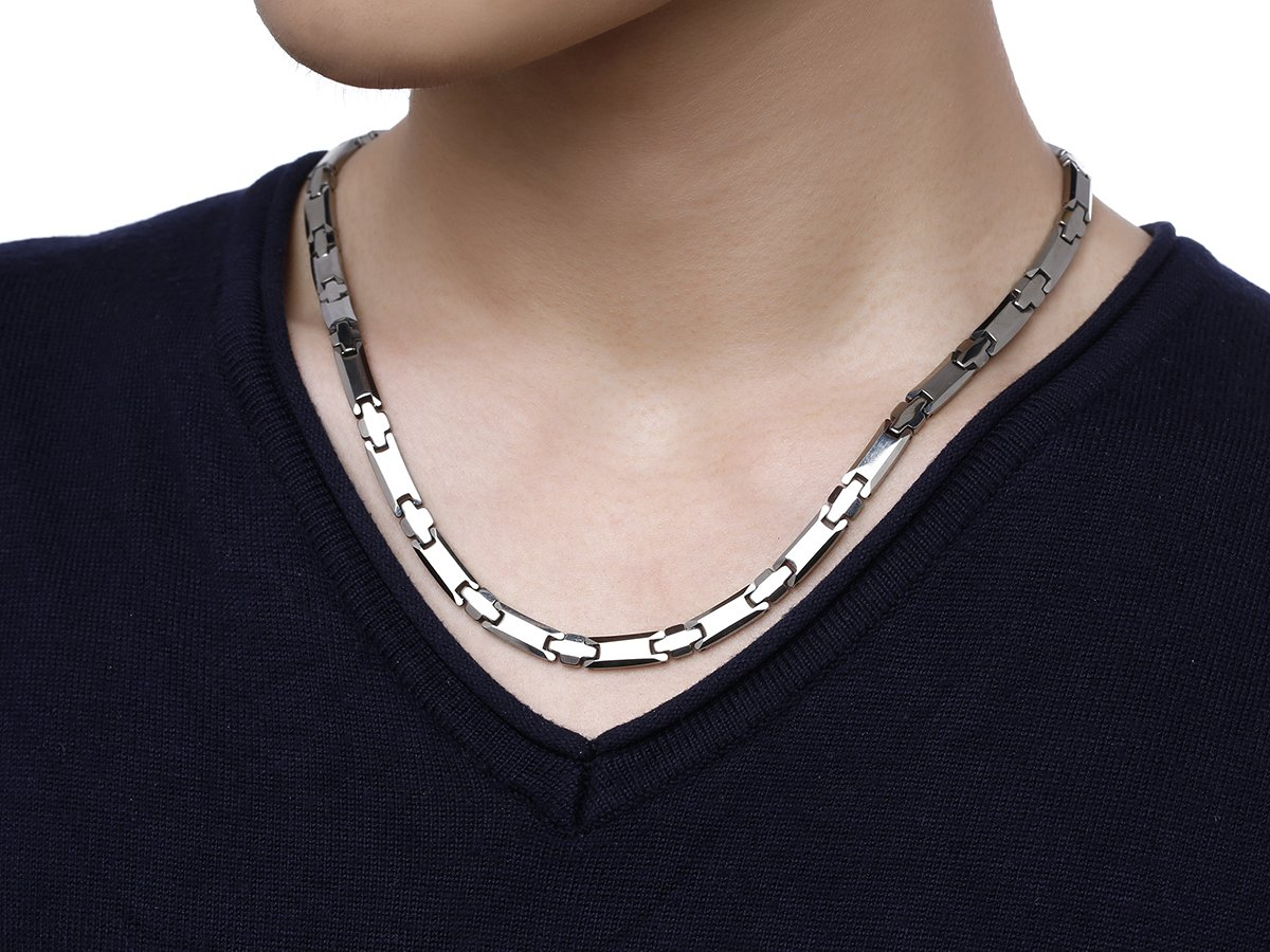 Tungsten Titanium Elegant Magnetic Therapy Necklace Germanium for Promote Blood Circulation (Sliver) by 38 (Image #6)