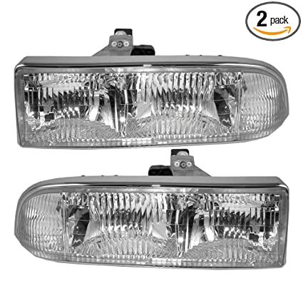 Headlights Headlamps Driver and Passenger Replacements for 98-05 Chevrolet  S10 Pickup Truck Blazer SUV 16526217 16526218