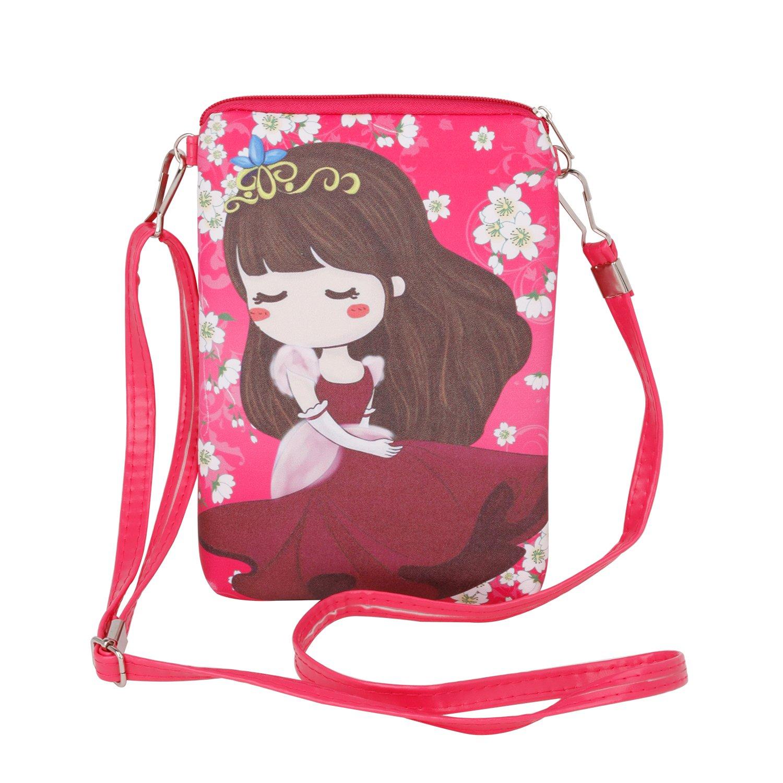 Fakeface Women Girls Cartoon Crossbody Bags PU Leather Keys Cell Phone Holders Purse Shouder Bag
