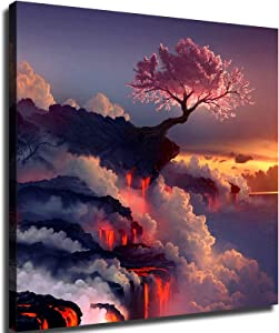 Landscapes Cherry Blossoms Trees sea Lava Smoke Rocks Poster Picture Art Print Canvas Wall Art Home Living Room Bedroom Decor Mural (8×8inch-Framed)