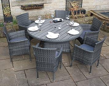 Ensemble salle à manger de jardin ronde en rotin et polywood 6 ...