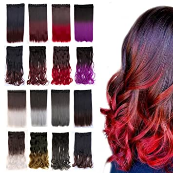 Amazon Com Clip In Hair Extensions Ombre Dip Dye Color One Piece