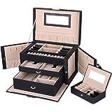 Songmics Jewellery Box Jewellery Box with 2Drawers Mirror JBC121B
