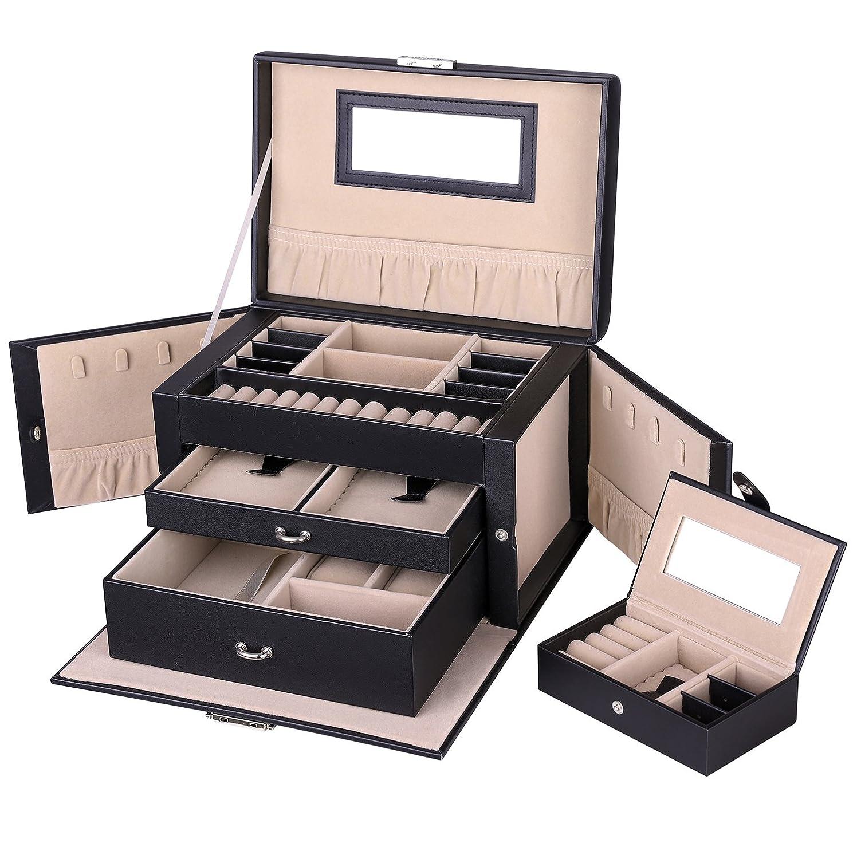 SONGMICS Caja Joyero con Espejo y Cajones, Caja para Joyas, para Pendientes, Pulseras, Anillos, Almacenamiento y Expositor, Organizador Joyero con Cerradura, Negro JBC121B