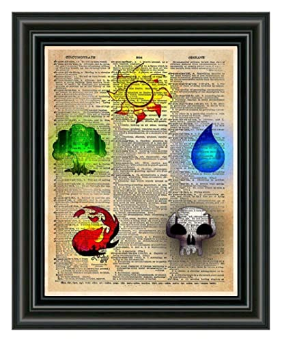 photo relating to Magic the Gathering Printable called Magic the Collecting artwork print, Elemental symbols, classic dictionary artwork print