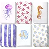 48 Pack All Occasion Assorted Blank Note Cards Greeting Card Bulk Box Set, Blank on the Inside, 6 Watercolor Sea Designs Jellyfish, Starfish and Seahorse - Envelopes Included, 4 x 6 Inches