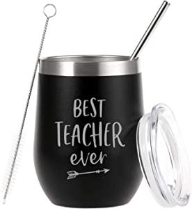 ZTA Best Teacher Ever Tumbler 12 Ounce Engraved Mint Stainless Steel Insulated Tumbler with Lid and Straw Wine Tumbler Cup, Black