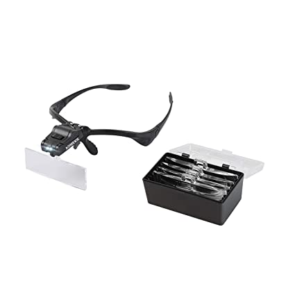 6bc02079b Amazon.com: Aomekie Magnifying Glass with Light Headband Magnifier Visor  Bracket with 2 Led Professional Jeweler's Loupe Head Mount Hands Free:  Office ...