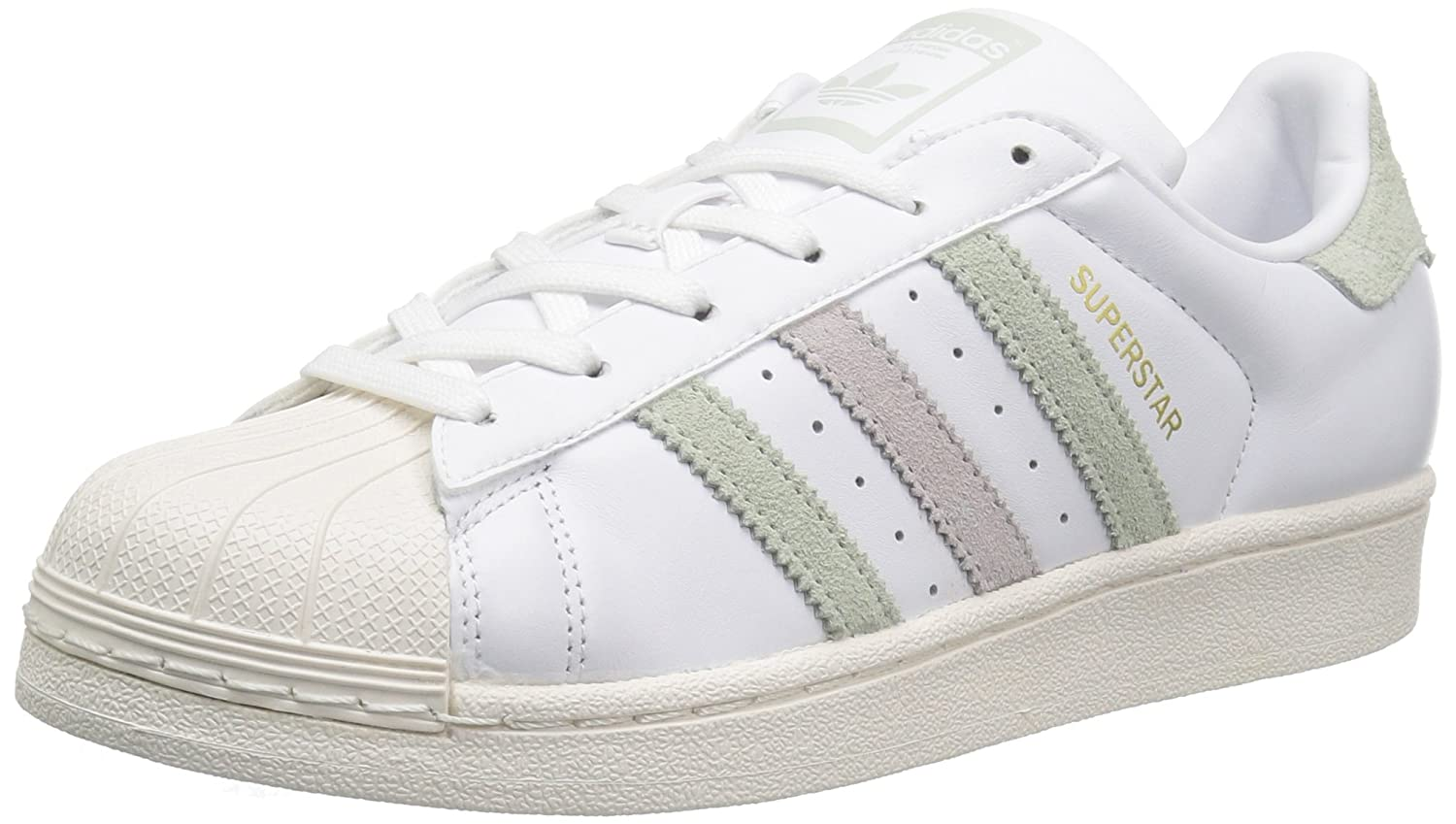 adidas Women's Originals Superstar B01HNF8BFK 8 B(M) US|White/Linen Green Ice Purple Fabric