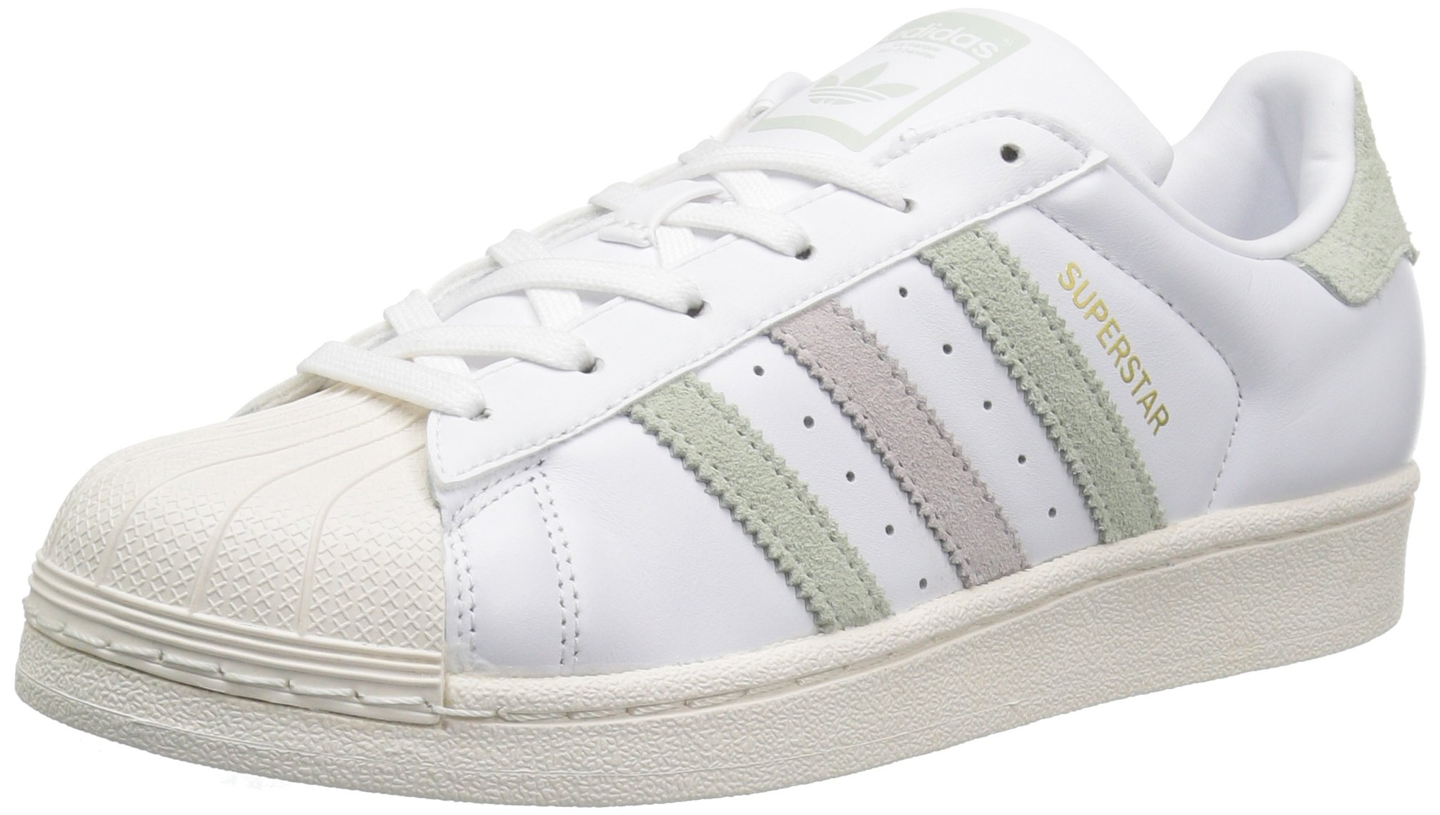 3fb77fc2f8 adidas Originals Women's Superstar Shoes Running, White/Linen Green Ice  Purple Fabric, (9 M US)