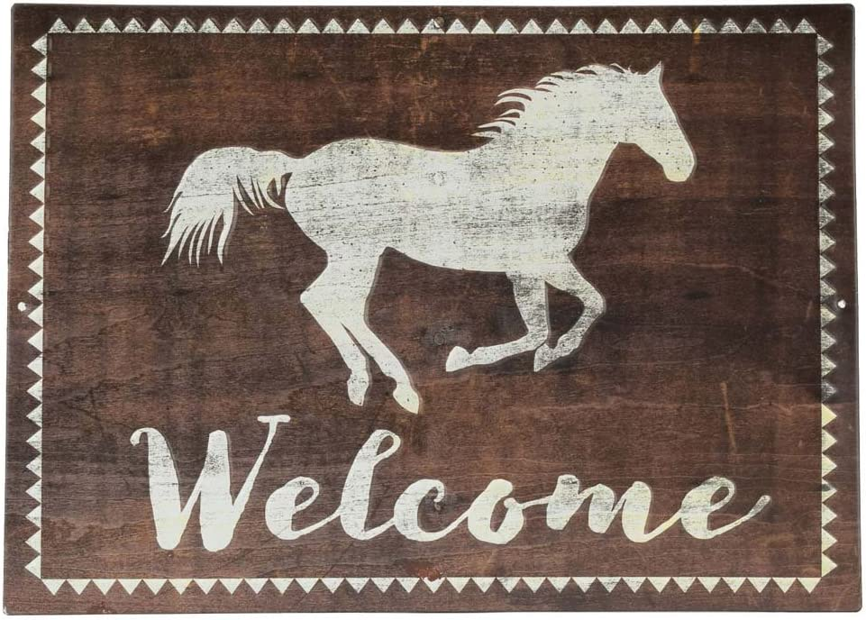 Open Road Brands Brown Welcome Sign with White Running Horse Rustic Tin Metal Wall Art - an Officially Licensed Product Great Addition to Add What You Love to Your Home/Garage Decor