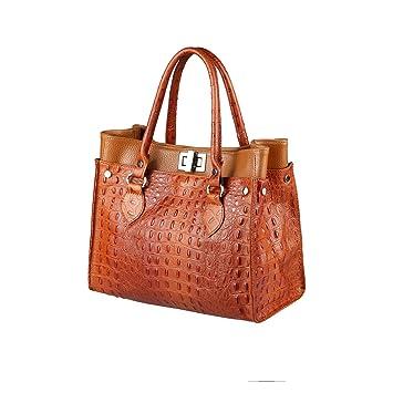 073a3123a3c56 OBC Made in Italy DAMEN LEDER TASCHE Business Schultertasche Shopper  Handtasche Kroko-Prägung Umhängetasche Beuteltasche