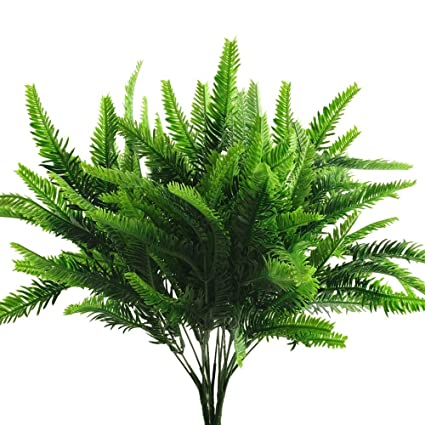 Cattree Artificial Shrubs Pine Grass Plastic Plants Fake Green Bushes Greenery Leaves Wedding Indoor Outdoor Home Garden Verandah Planter Filler