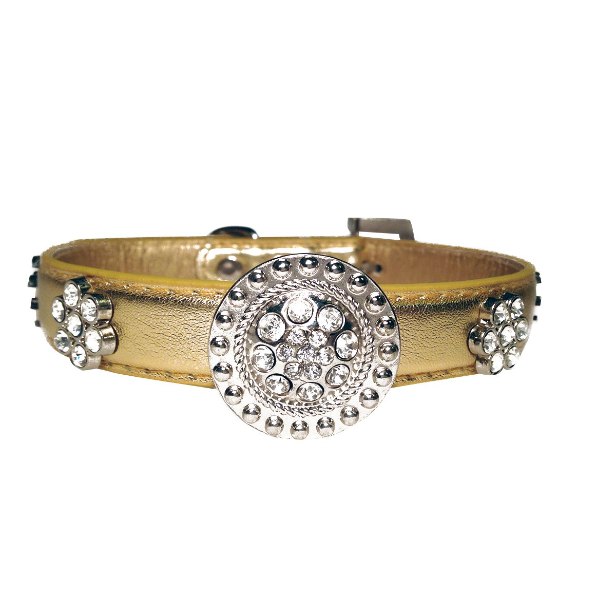 Large One Tail Four Paws Crystal Medallion Collar, Large, gold