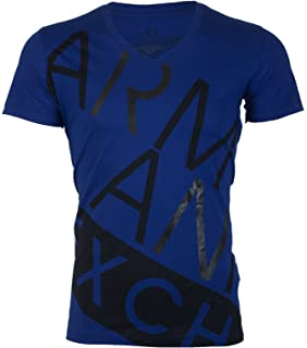 9d6ee0c087dcd0 Armani Exchange BIAS Men T-Shirt Premium Slim Fit Royal Blue Black Casual  Designer