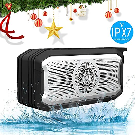 Bluetooth Speakers Portable Bluetooth Speaker Outdoor Waterproof IPX7 True Wireless Stereo Bluetooth 5.0 8-Hour Playtime Built-in Mic. Durable for Home Party Hiking Swimming Black