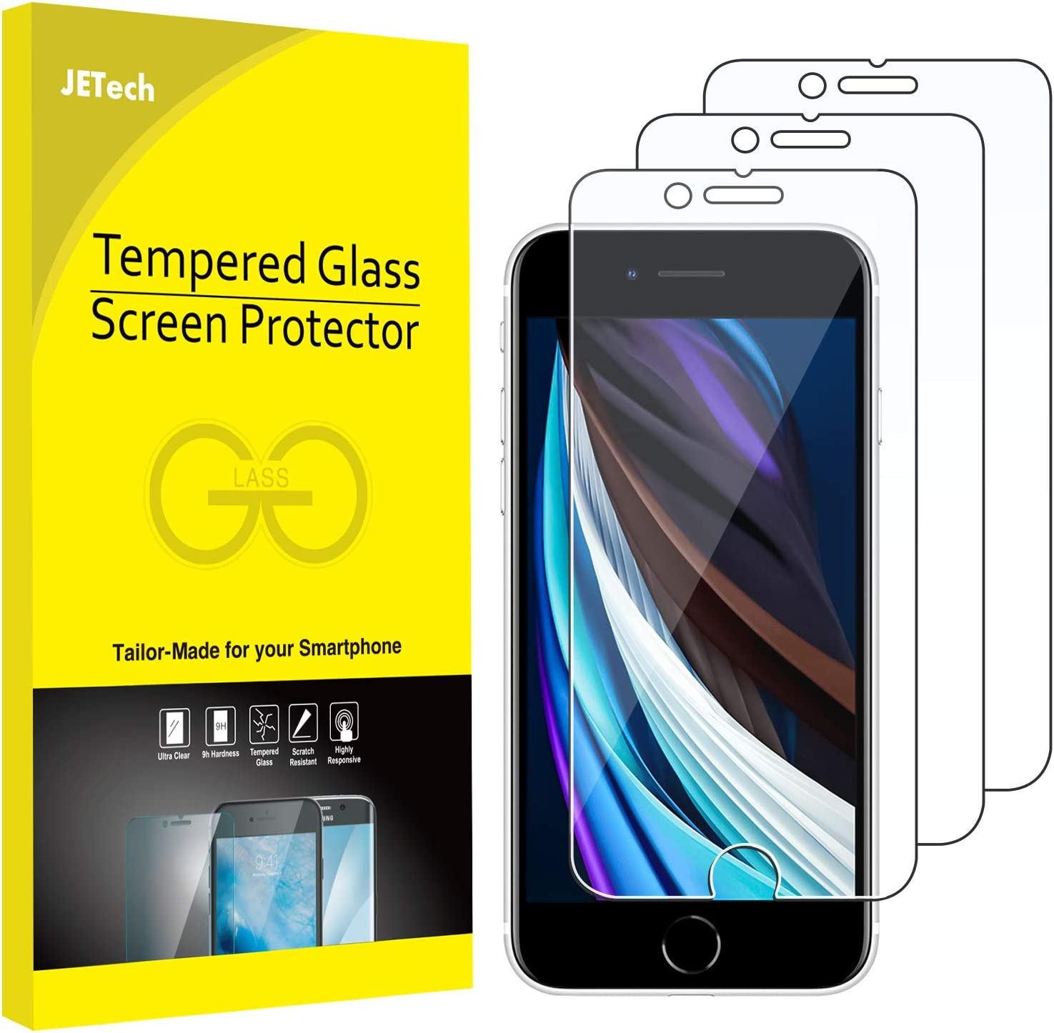 JETech Screen Protector for iPhone SE 2020, 4.7-Inch, Tempered Glass Film, 3-Pack
