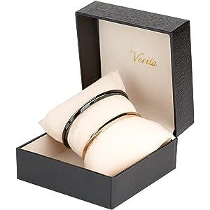 Verita.(ヴェリタ) ペア バングル 高級感のあるチタン製 ブレスレット ブラック&ゴールド色 メンズ+レディース 2点セット カップル 人気 ブランド 専用BOX付き