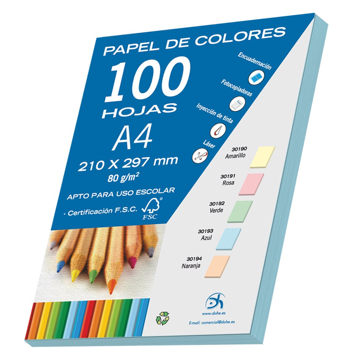 80 g Dohe 30191 color rosa pastel Pack de 100 papeles A4