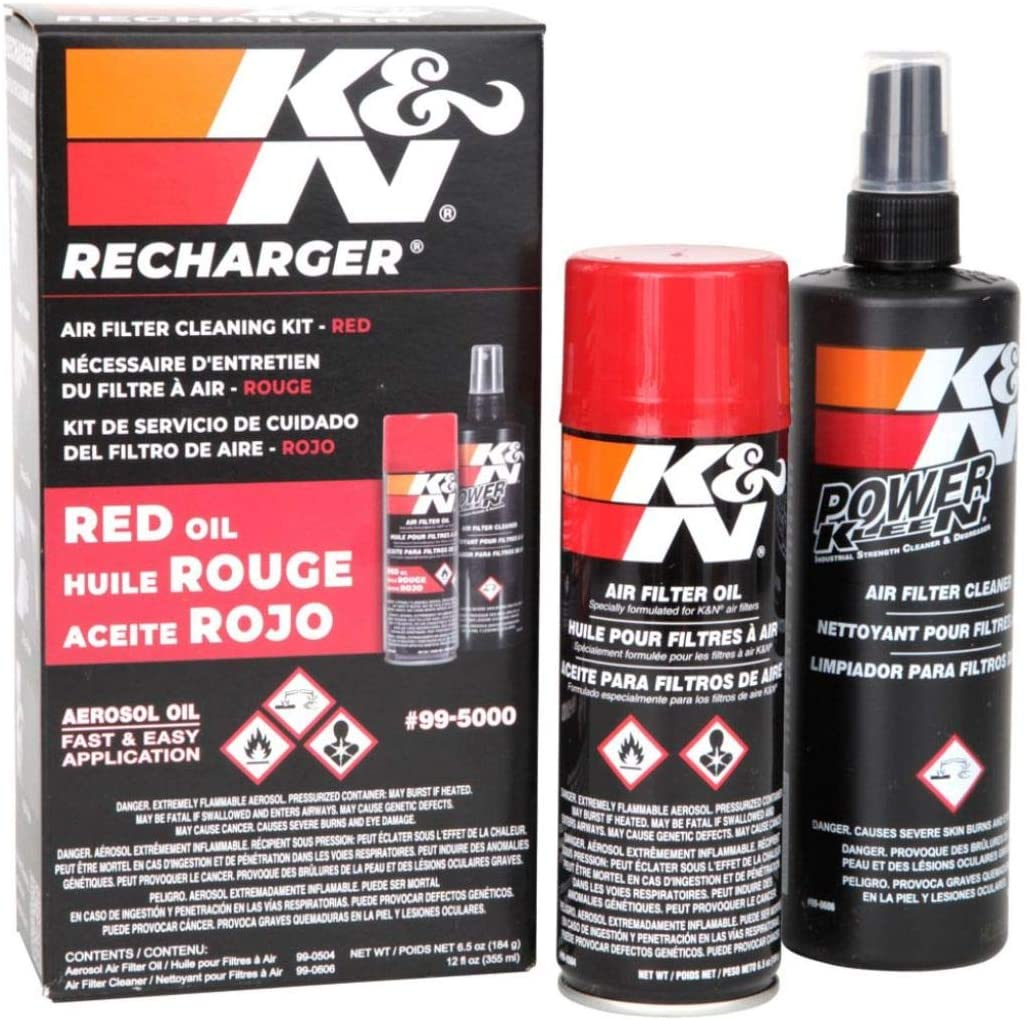 K&N Air Filter Cleaning Kit: Aerosol Filter Cleaner and Oil Kit; Restores Engine Air Filter Performance; Service Kit-99-5000: Automotive
