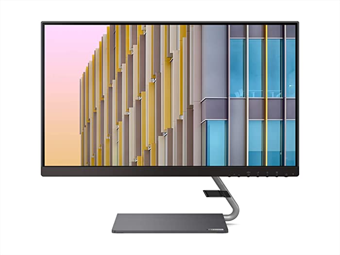 Lenovo Q24h-10 23.8-inch QHD (2560 x 1440) USB-C LCD Monitor, LED Backlit, AMD FreeSync, 16:9, Ultra-Slim, 3-Side Borderless, 75Hz, 4ms, 99% sRGB, Speakers, Tilt, HDMI, DP, Low Blue Light, 66A8GCC6US