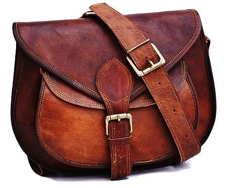 69805dfb Satchelandfable Handmade Women Vintage Style Genuine Brown Leather Cross  Body Shoulder Bag Handmade Purse